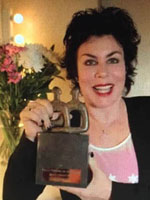 Ruby Wax with one of my award sculptures